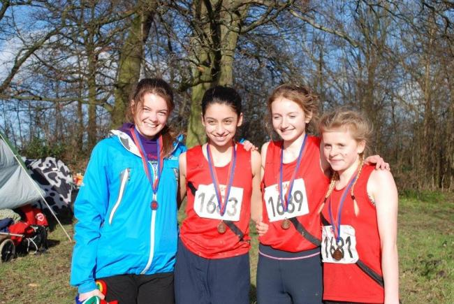 MEDAL: Wimborne AC's under-15 girls (l-r) Hannah Slater, Anna Kelliher, Caitlin Rogers and Grace Copeland (Picture: Wimborne AC)