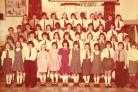 Pokesdown County Primary School in 1977 sent in by Tony Hulson. They are back row, left to right, two unknowns, Kirk Dowdall, two unknowns, Michelle Luther, Kim West, an unknown, one of identical twins Katherine Knobb, two unknowns. Next row, Tony Hulson,