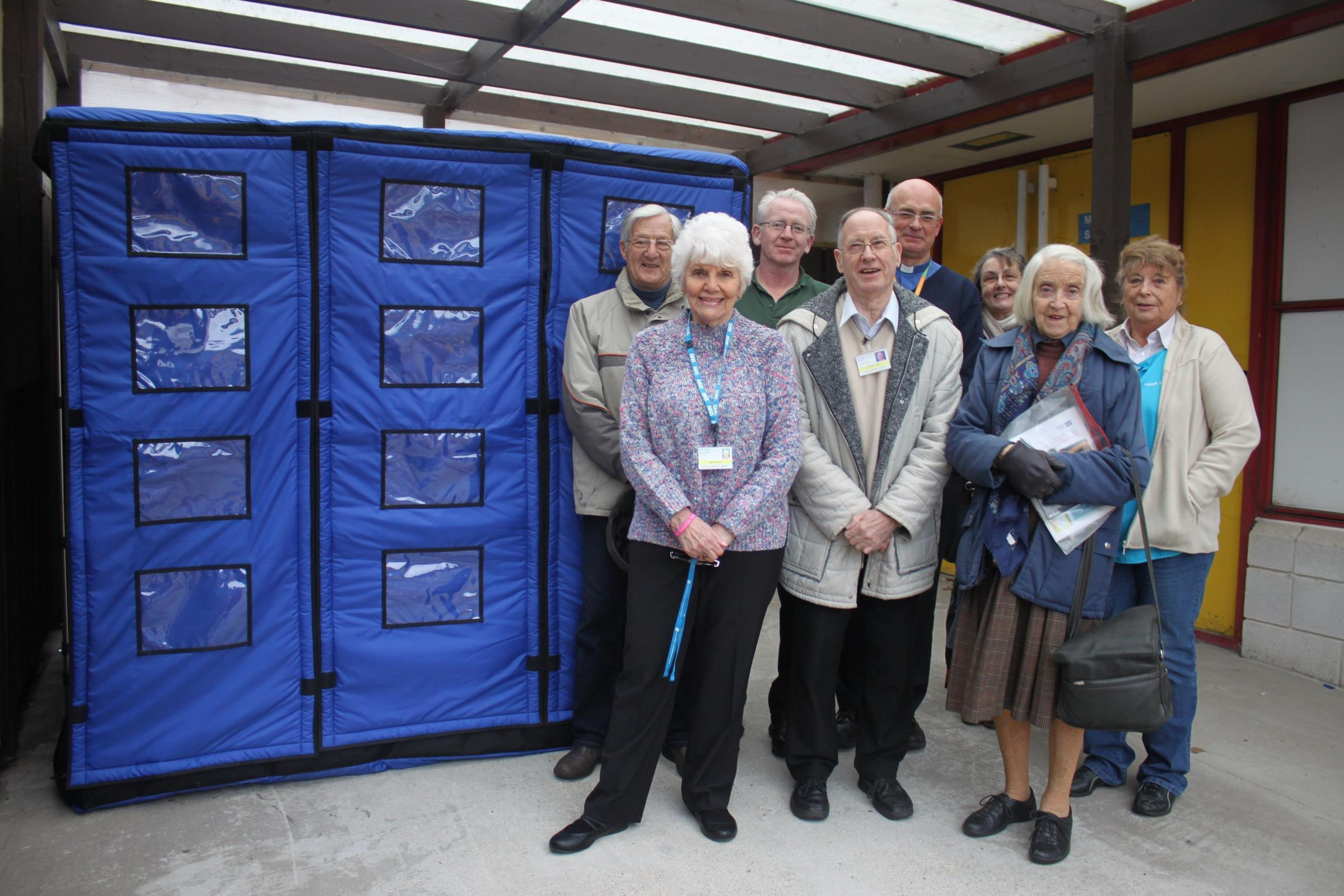 Back row Clive Fawn, John Flattery, RBH Lead Chaplain David Flowers, Penny Tansley, Dorinda Sheppard. Front row Rosie Havers, Bill Hardy and Claire Austin-Smith.Royal Bournemouth Hospital's new mobile mortuary, February 2016.