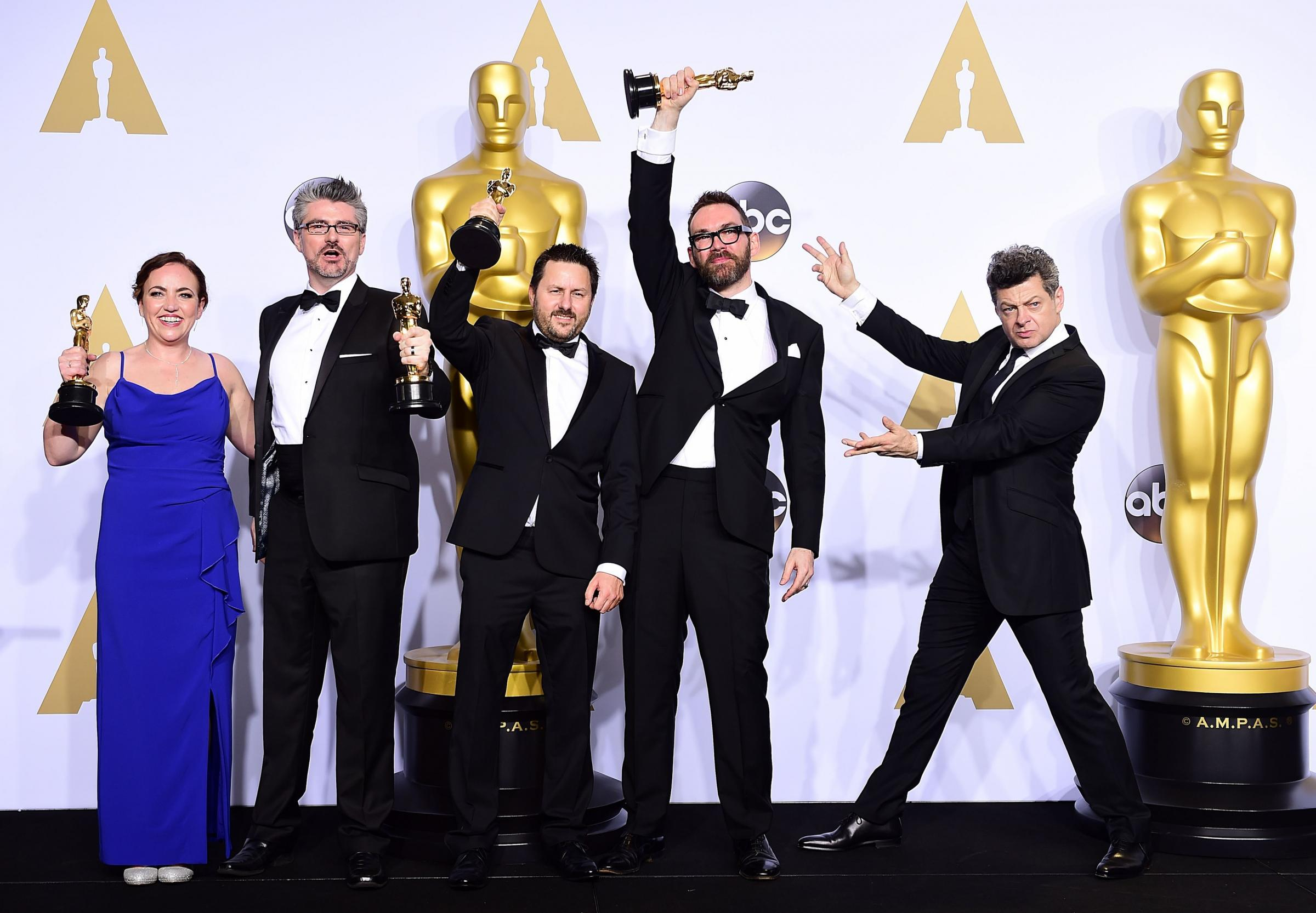 Bournemouth University graduates win visual effects Oscar, Mark Ardington, second from left