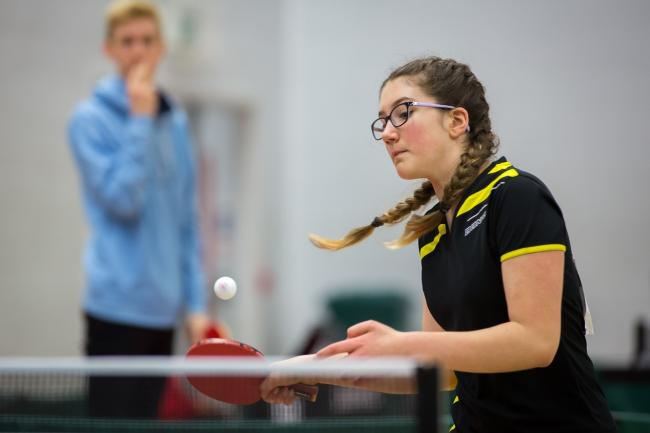 EYES ON THE BALL: Katie Holt in action (Picture: Alan Man)