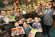 Author, David Lawrence Jones visits Broadstone Middle School to meet the pupils and sign books in the library..