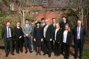 Students from QE School in Wimborne and Ferndown Upper School with Richard Jones, democratic services manager (far left), Jennifer Cooms, High Sheriff of Dorset and Cllr Steve Lugg, Chairman of East Dorset District Council (centre) and Steve Collins, ente