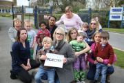 Emma Alldridge and her son Josiah, four, who has not been given a place at St Peter's Primary in Bournemouth even though Emma already has a child at the school. .Emma, front, with mothers who find themselves in the same situation.