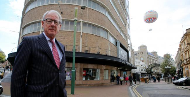 GRATEFUL: Beales chairman Stuart Lyons at the Bournemouth store and, inset, shopper Cllr Marion Pope