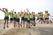 Pupils at Stourfield Junior School who are taking part in a fun run to Boscombe Pier and back to help raise money for a new running track at their school..