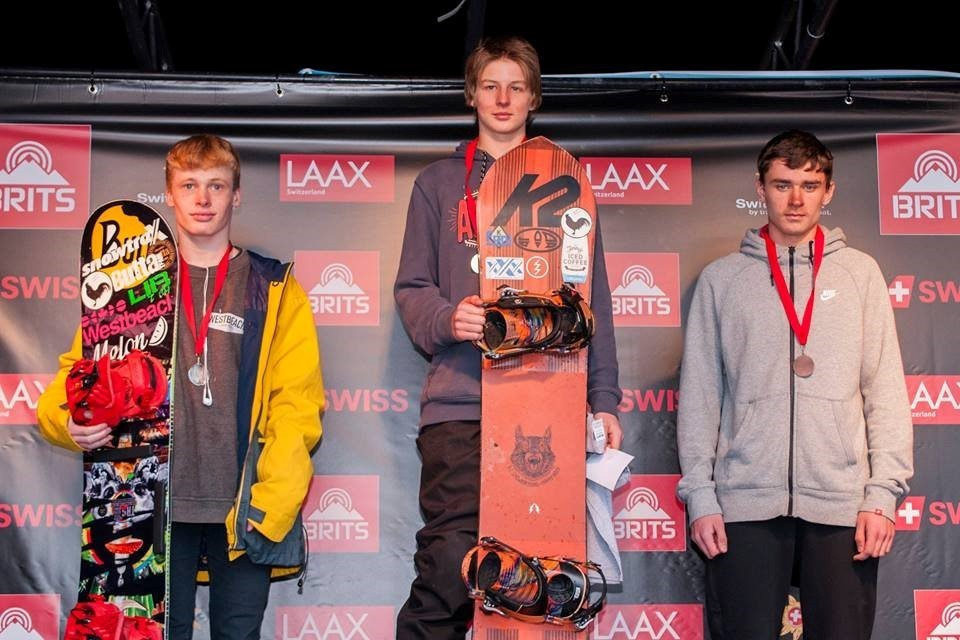 SUPER SLIDER: Harry Waite, centre, on the podium at the British Snowboard Championships