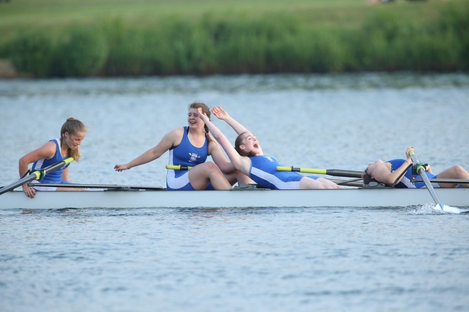 MEDAL JOY: Canford School's senior girls celebrate winning bronze at nationals