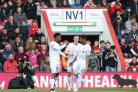 SET TO SIGN: Liverpool's Brad Smith (centre) celebrates with Daniel Sturridge and Jordon Ibe (right) at Vitality Stadium in April