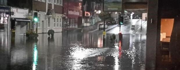 Parts of Winton High Street were completely cut off after the flash flooding