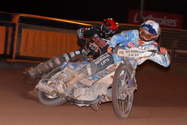 GRITTY: Kyle Newman in action against Wolves at Monmore Green tonight