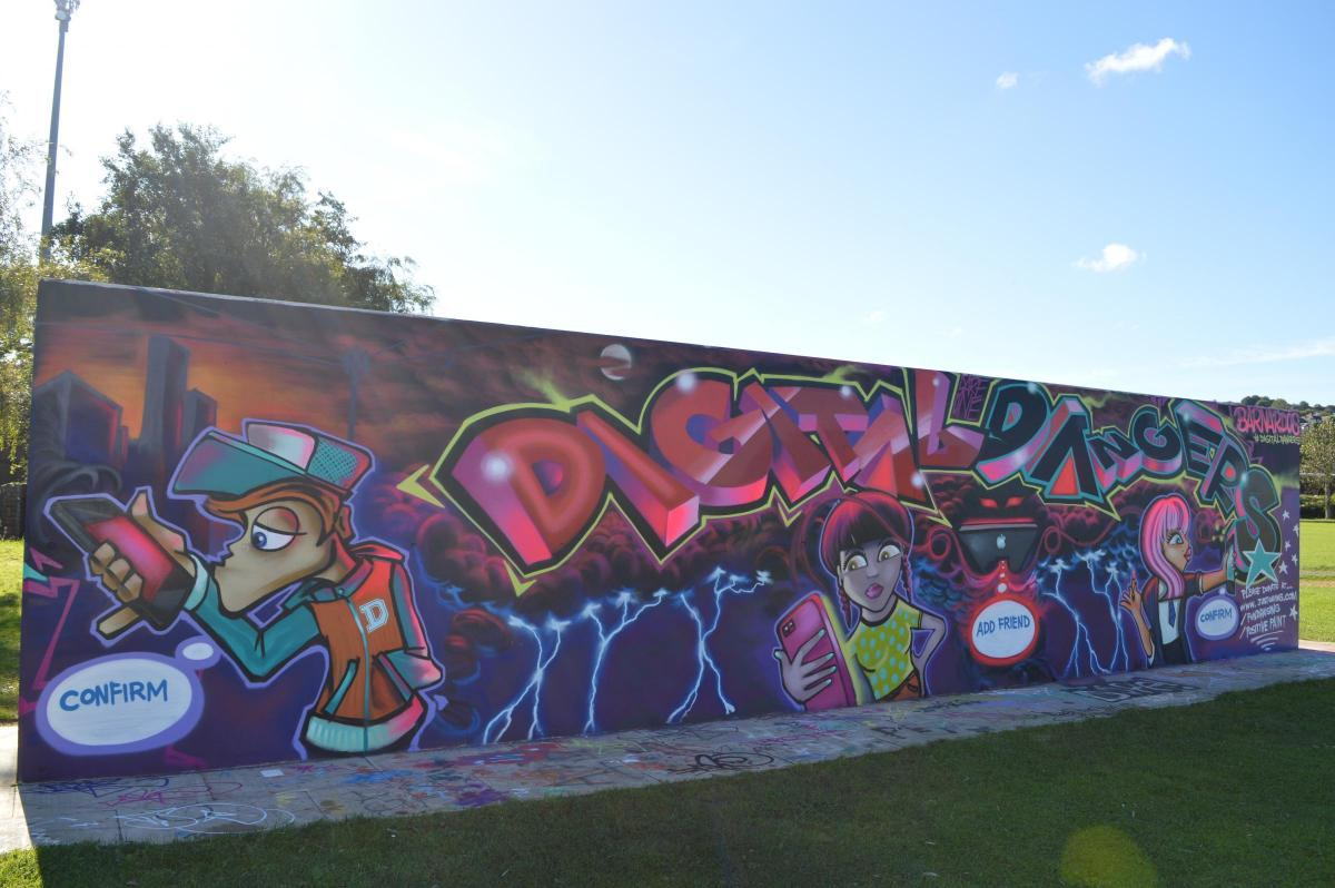 Pictures the mural graffiti artists hopes will help save children from online abuse