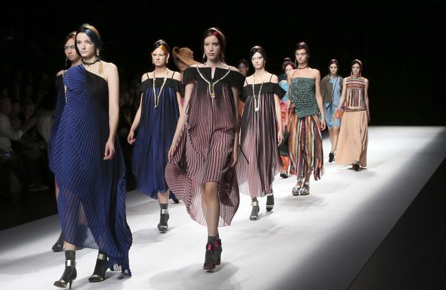 FASHION: You won't see my gear on the catwalk. Models display creations designed by Yuma Koshino during the 2017 Spring/Summer Collection at the Tokyo Fashion Week in Tokyo, Friday, Oct. 21, 2016. (AP Photo/Koji Sasahara).