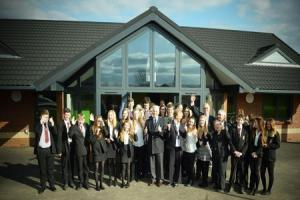Hampshire County Council Leader Roy Perry With Ringwood Town Councillors And Staff Students Of