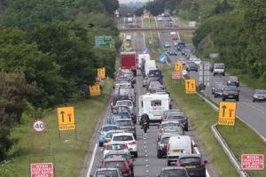 Traffic jams on the A338 following the introduction of new traffic cones.