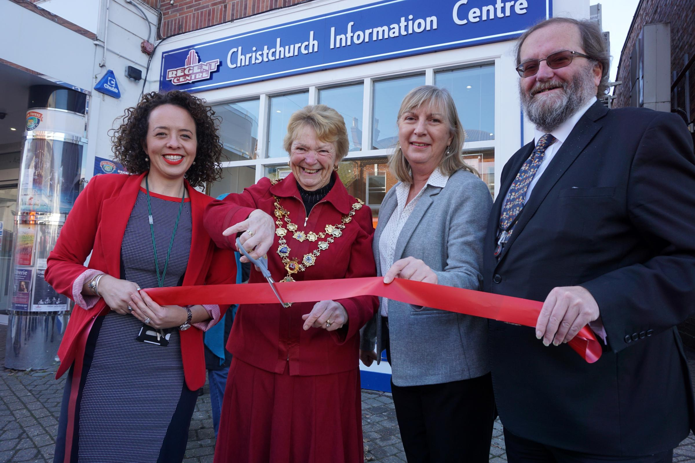 The Mayor of Christchurch cuts the ribbon on the new Christchurch Information Centre in the High Street.  Sara Stewart-Haddow, manager of Christchurch Information Centre, the Mayor of Christchurch, Cllr Trish Jamieson, Christopher Root, Regent Chairman of