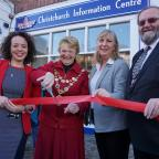 Bournemouth Echo: The Mayor of Christchurch cuts the ribbon on the new Christchurch Information Centre in the High Street.  Sara Stewart-Haddow, manager of Christchurch Information Centre, the Mayor of Christchurch, Cllr Trish Jamieson, Christopher Root, Regent Chairman of