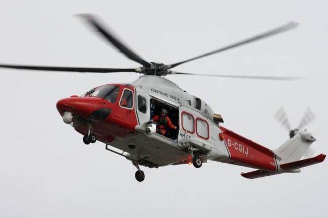 The Coastguard rescue helicopter.