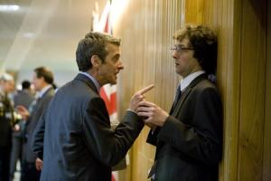 Peter Capaldi as Malcolm and Chris Addison as Toby in The Thick of It