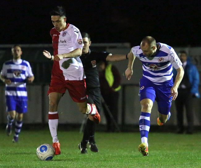 ON THE RADAR: Clubs are watching Poole Town frontman Luke Roberts (Picture: Andy Orman)