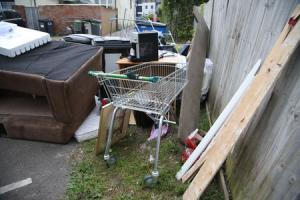 Rubbish dumped in a lane behind houses at Belle Vue Road in Southbourne