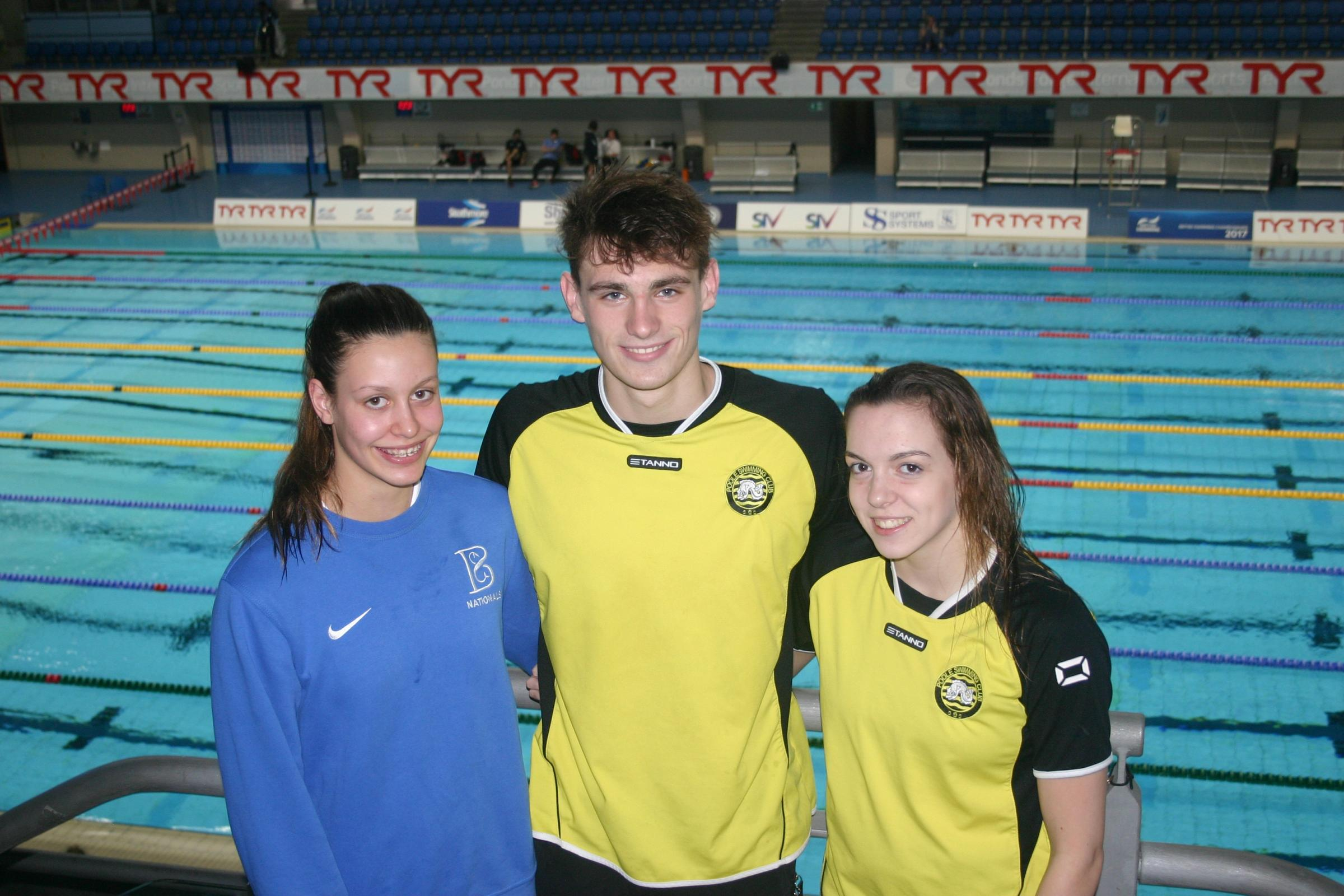 BIG HITTERS: Dorset champions (l-r) Kayla van der Merwe, Jacob Peters and Jazz McCrea at Ponds Forge (Picture: Roger Guttridge)