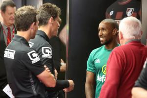 OLD FRIENDS: Jermain Defoe chats to Jason Tindall