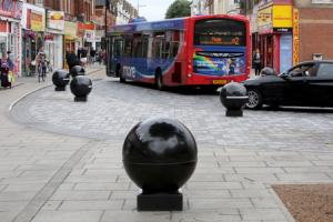 The granite bollards mark out Boscombe's shared space