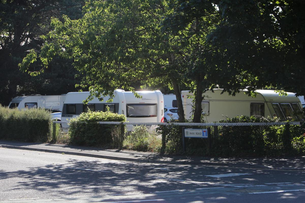 Group Of Travellers Move Onto Bournemouth Car Park
