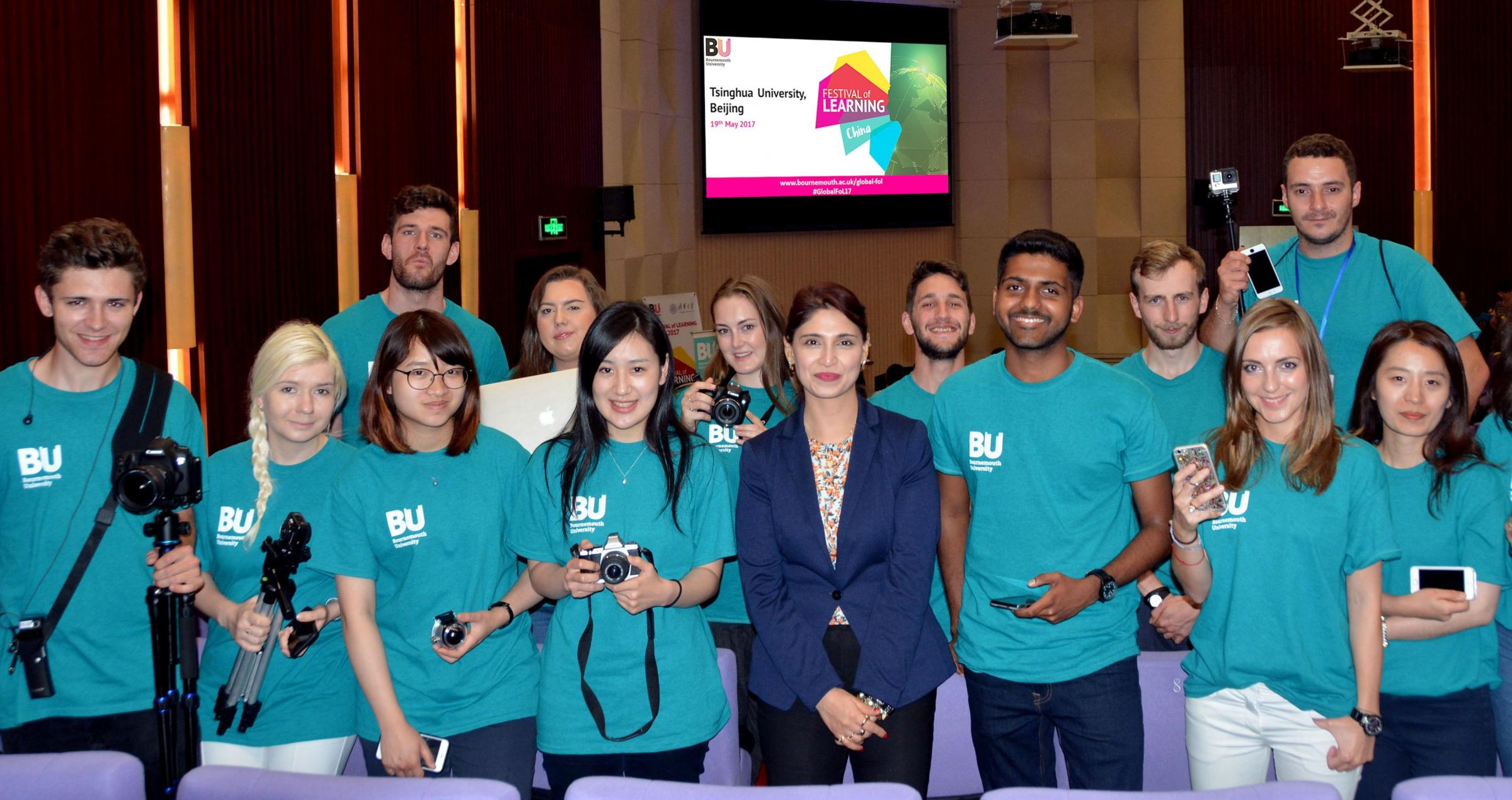 SUCCESS: BU Pro-Vice-Chancellor of Global Engagement Dr Sonal Minocha, with BU students on the Global Talent Programme in Beijing