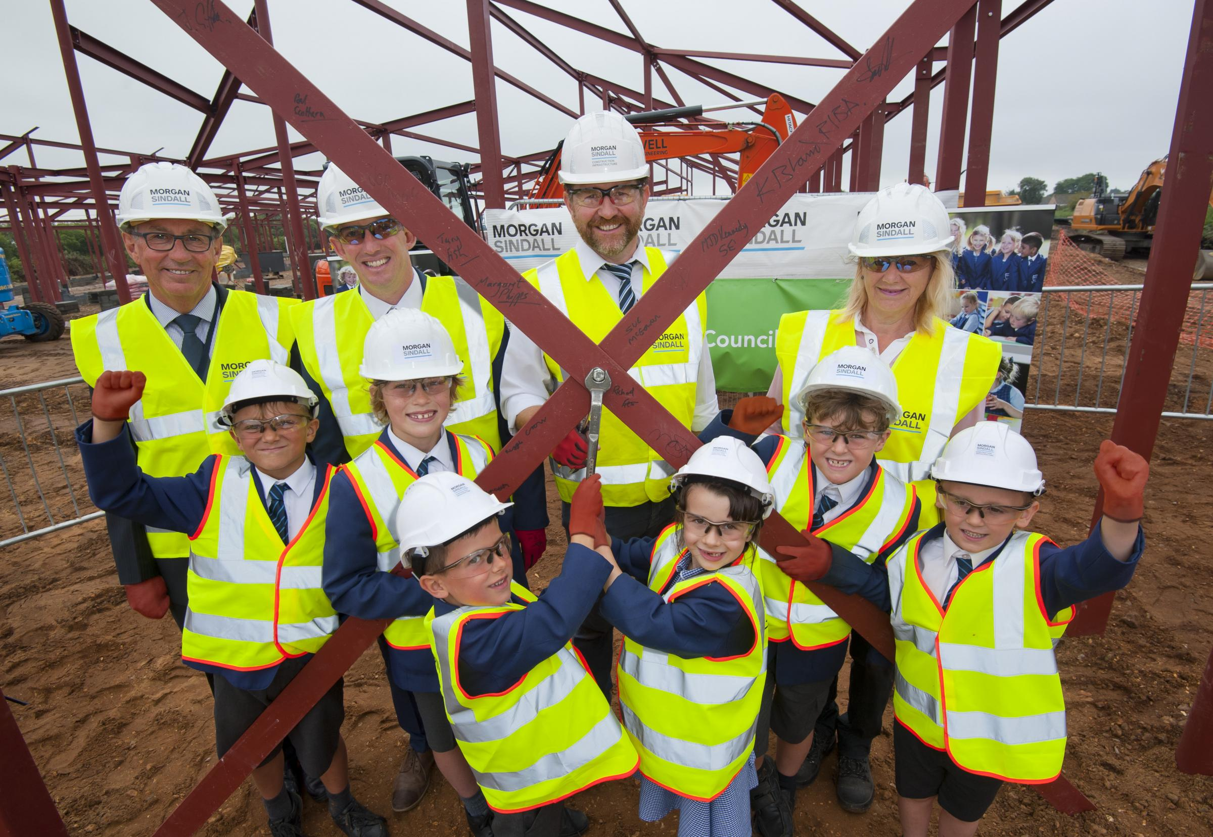 The bolt-tightening ceremony at Tynham Primary School