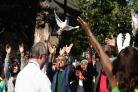Mayor of London Sadiq Khan takes part in a release of doves as a show of respect for those who died in the Grenfell Tower fire