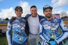 PLAY-OFF TIME: Pirates promoter Matt Ford with riders Jack Holder and Hans Andersen