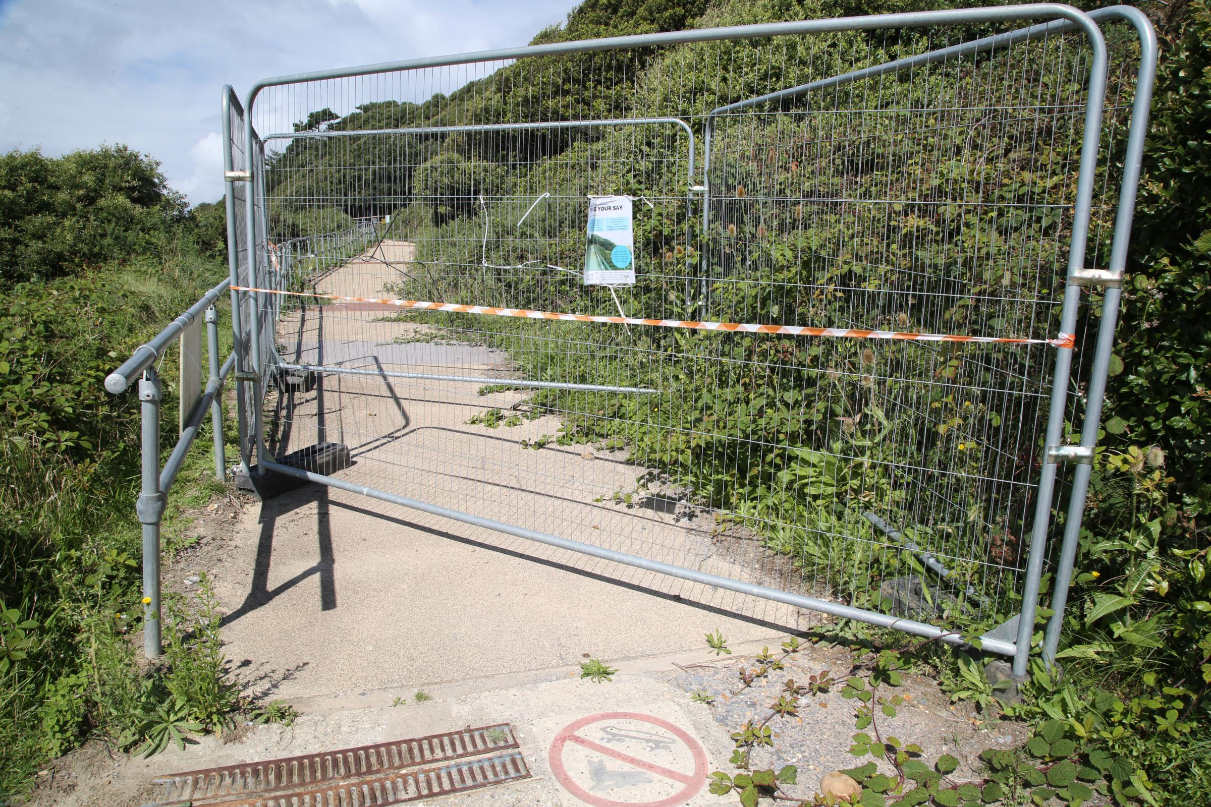 The closed zig zag path from Highcliffe castle to Highcliffe Beach. ..