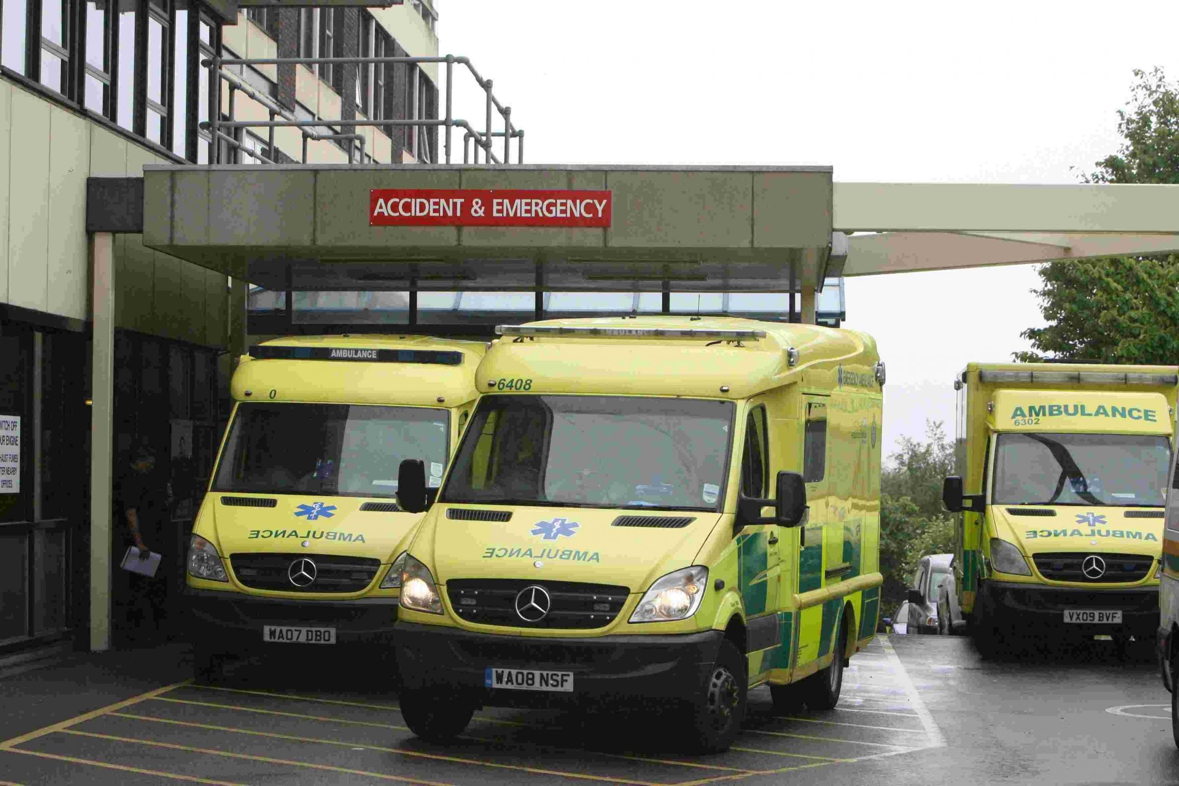 General views of Poole Hospital with ambulances outside Accident and Emergency