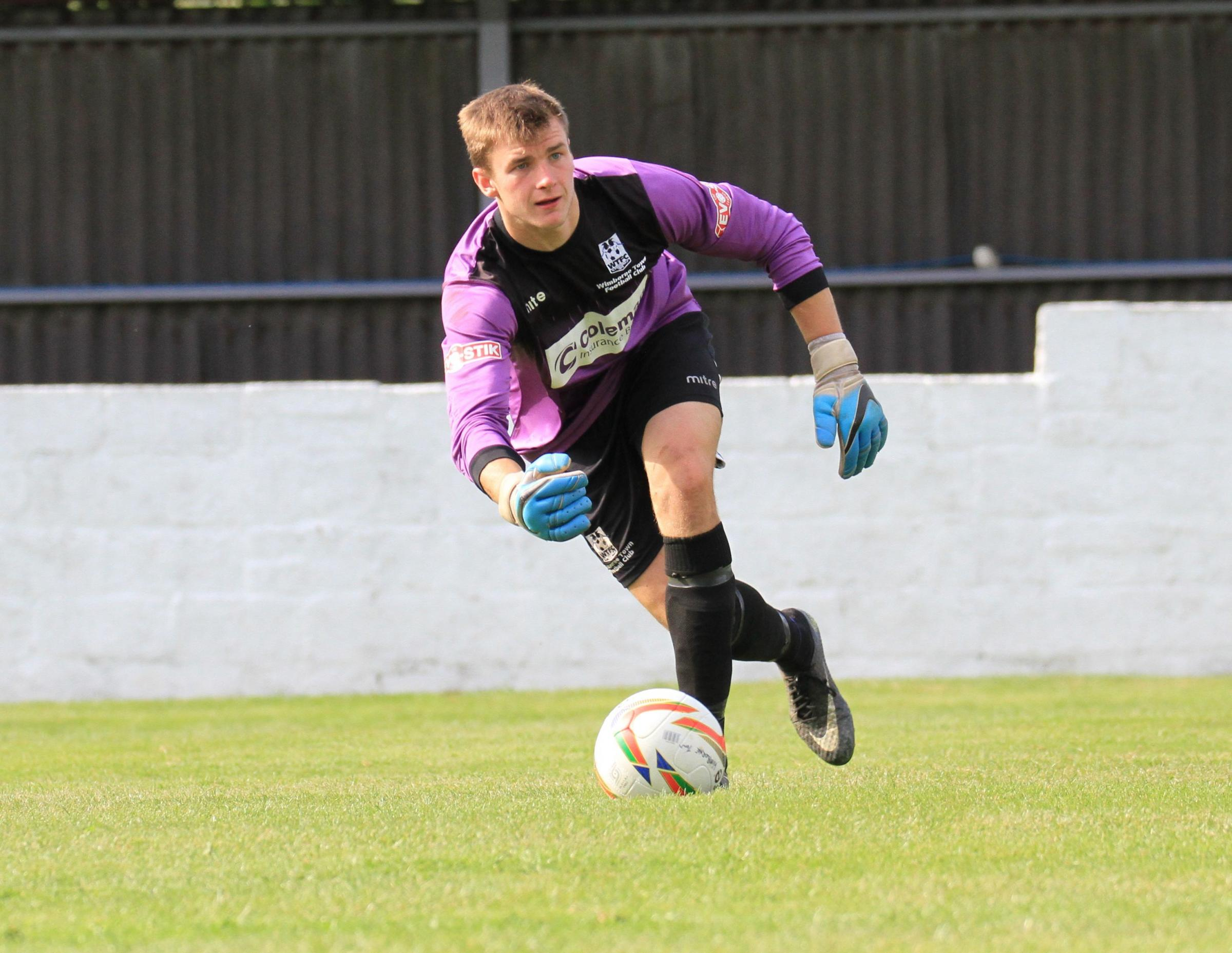 UNLIKELY SCORER: Wimborne Town goalkeeper Gerard Benfield (Picture: WTFC)