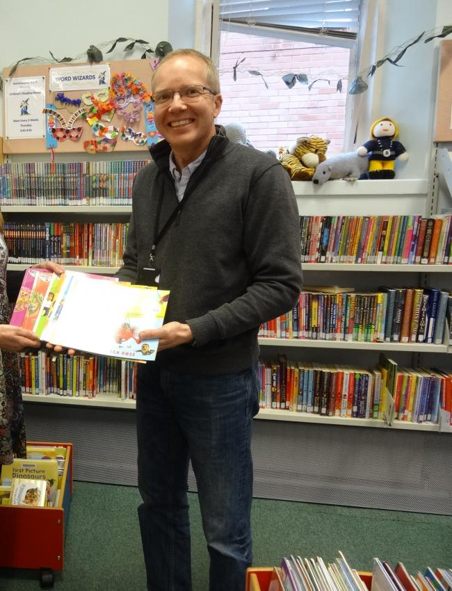 Cllr Nick Rose presenting his books at one of Bournemouth's libraries