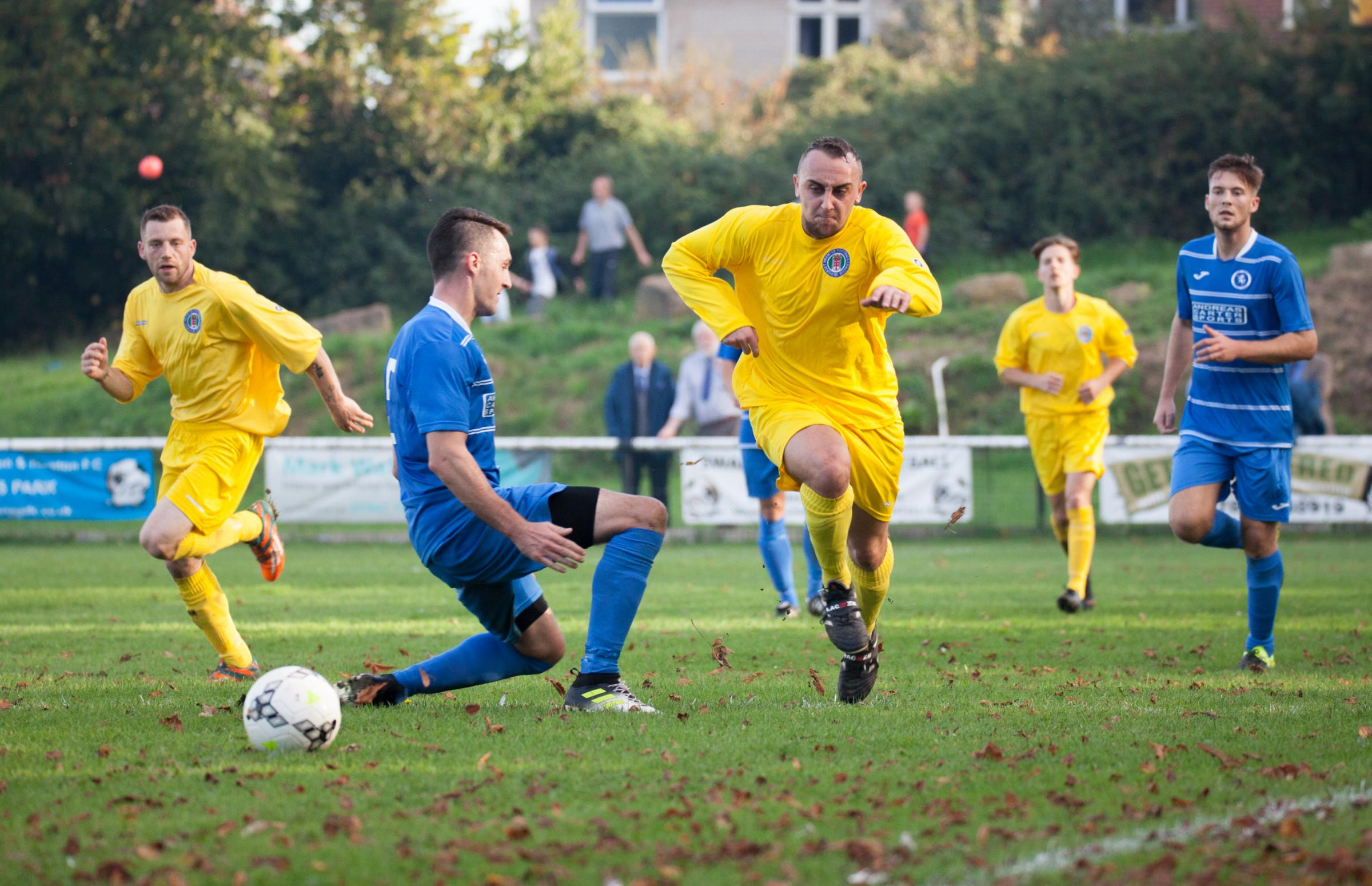 ON TARGET: Nathan Saxby, pictured in action for the Dorset Premier League representative side, netted in Holt's League Cup win over Blandford United (Picture: Steve Harris)