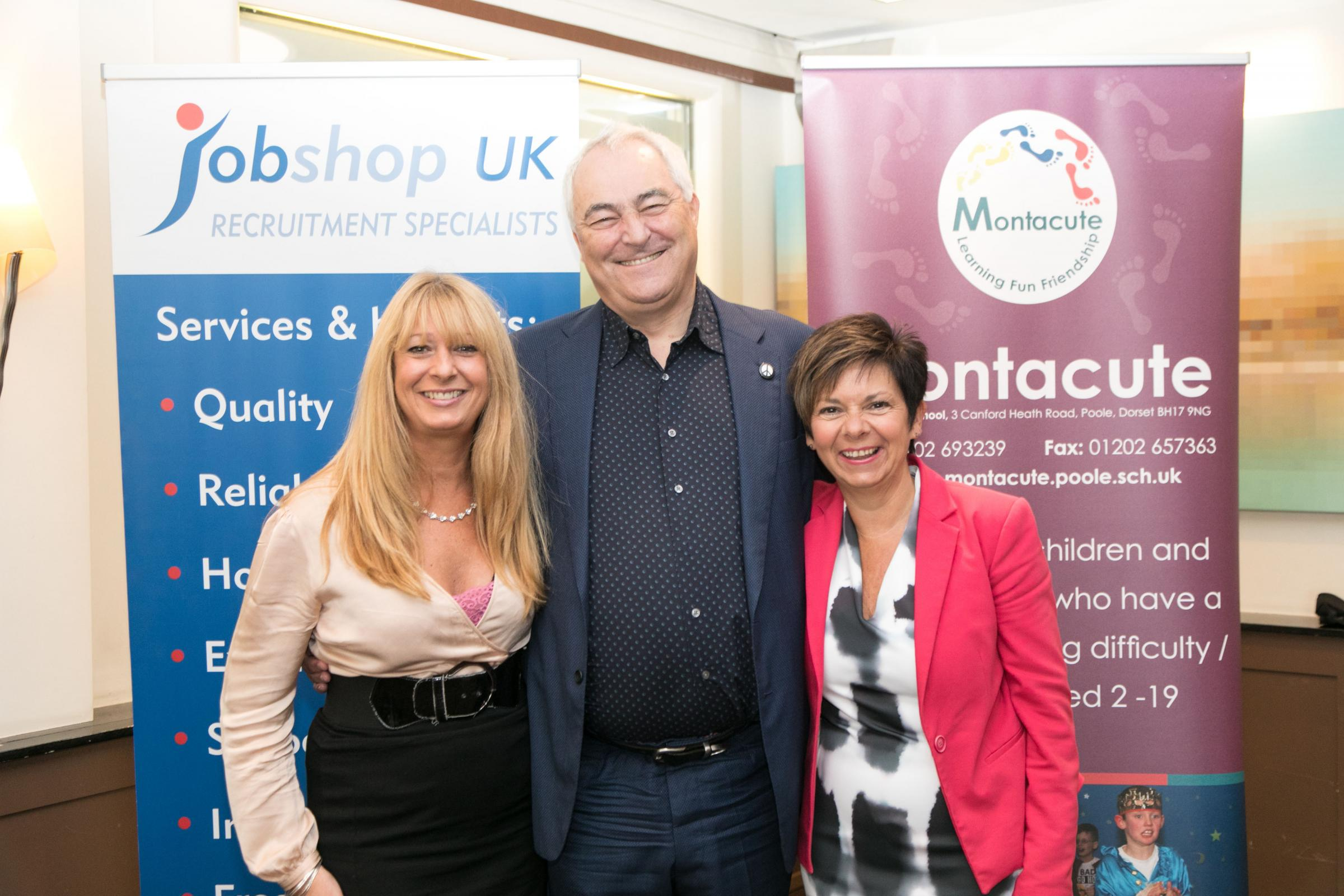 Mark Constantine of Lush with Frances Miles (left) and Tracey Wood of Jobshop UK