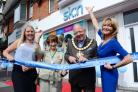 Sk:n launch with VIP open day at Chirstchurch Road, Bournemouth. Faye Jones, Mayoress of Bournemouth Mrs Elaine Williams and Mayor of Bournemouth Cllr Lawrence Williams cutting the ribbon with Dr Linda Eve.