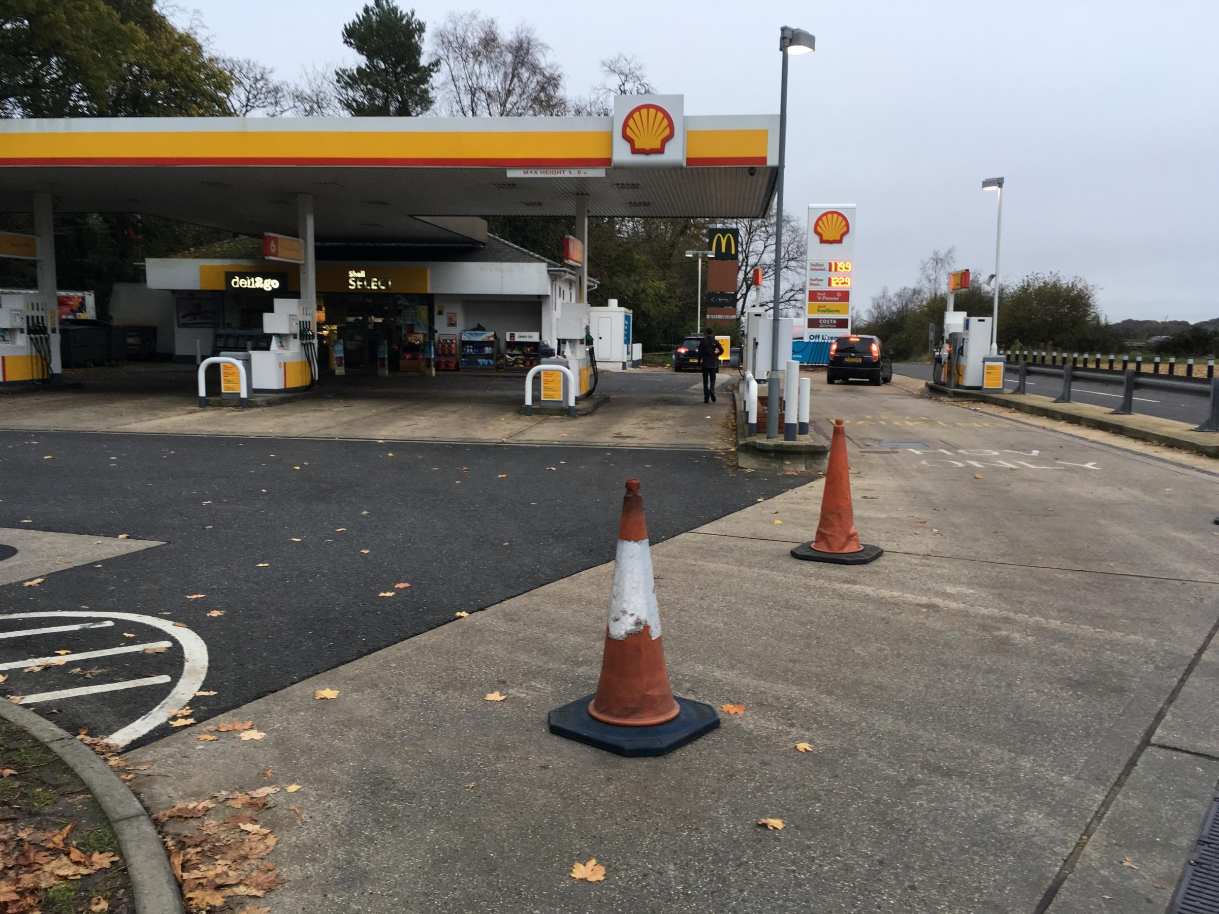 The Shell petrol station on the A31 near Ringwood