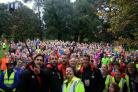 Steve Cook, Simon Francis, Steve Fletcher and Charlie Daniels of AFCB with parkrun volunteers and participants in King's Park