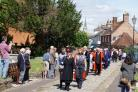Christchurch council parade through the high street to a civic service at the Priory.rWF210517cCivicParade.