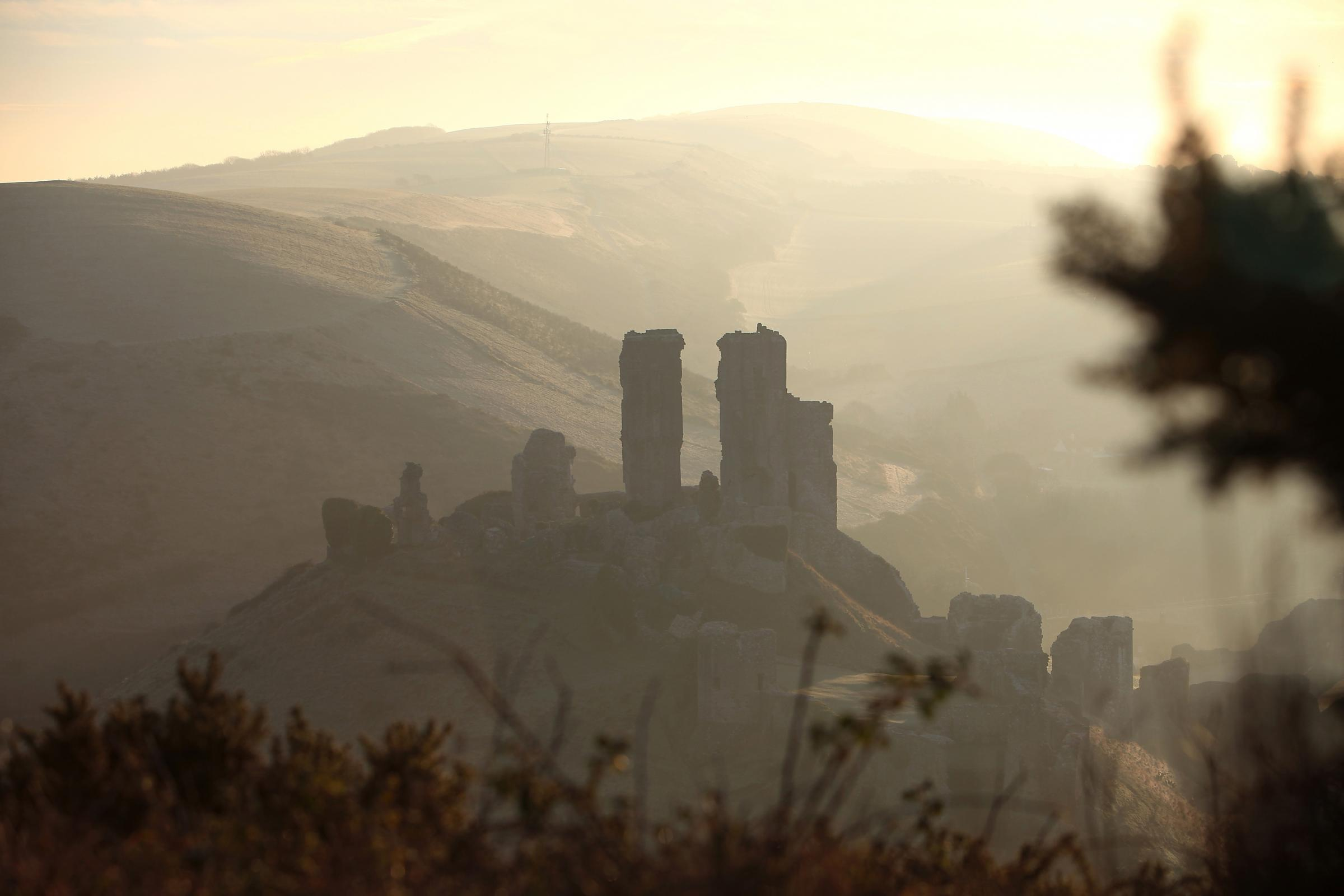 Sunrise over Corfe Castle..