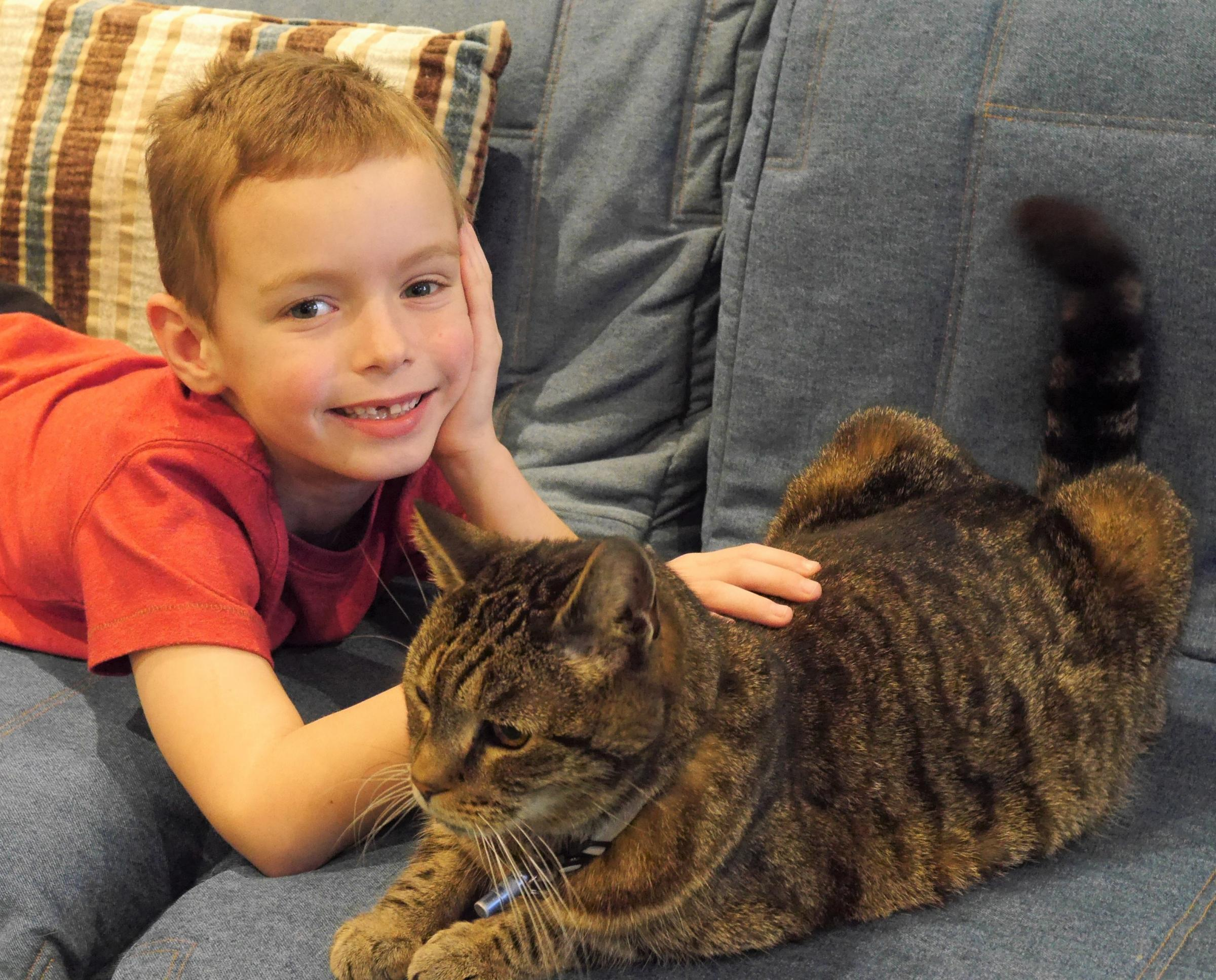 Archie with Ollie the cat
