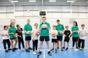 Parkfield School pupils making use of their new sports hall facilities.
