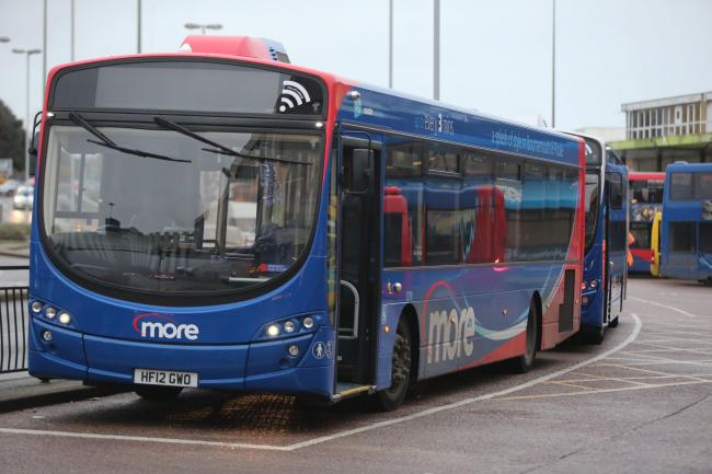 Morebus buses at Poole Bus Station