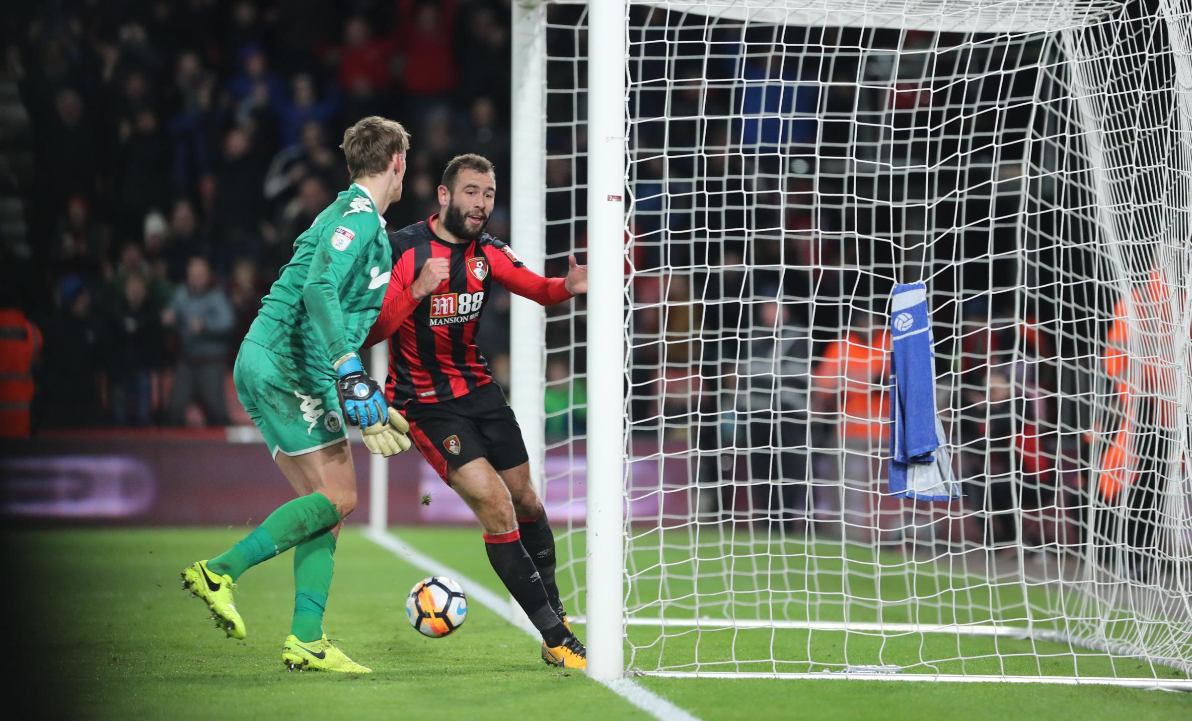 LEVELLER: Cherries' Steve Cook scored a late equaliser against Wigan