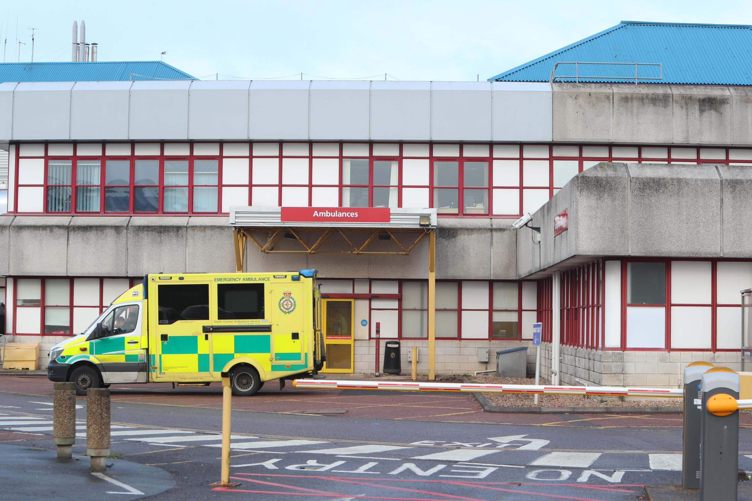 An ambulance waiting outside the Royal Bournemouth Hospital emergency department