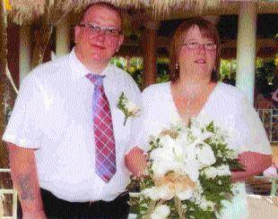 GRIEF: Nick and Carol Jeal on their wedding day just two months ago. Carol was killed earlier this month in this accident on the A338